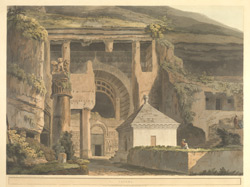 'Ekvera'. Coloured aquatint by Thomas Daniell after James Wales. Plate 5 of [Antiquities of India], published by T Daniell, London, 1803
